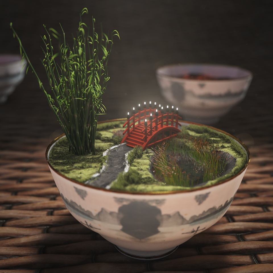 Chineese garden in a bowl